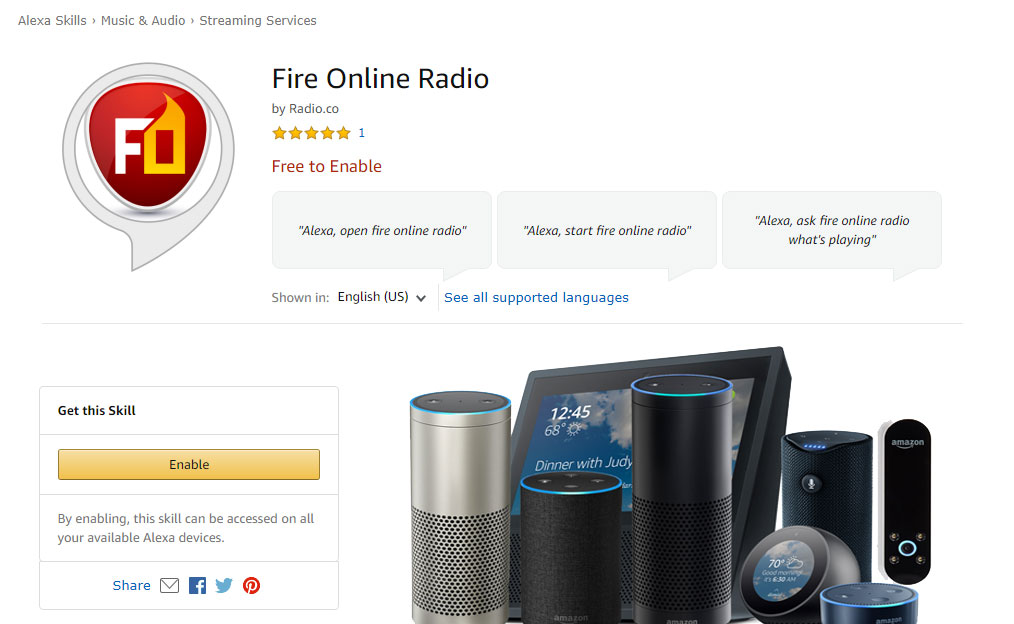 Fire Online Radio Alexa devices